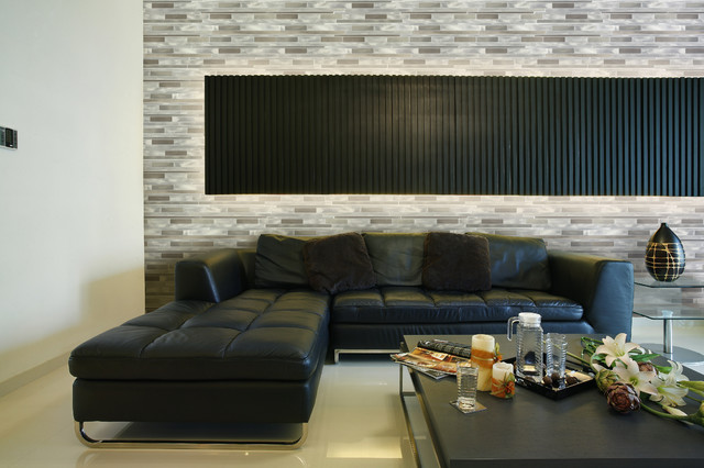 Living Room With Aluminum Accent Wall Tile Contemporary Living Room New York By Abolos