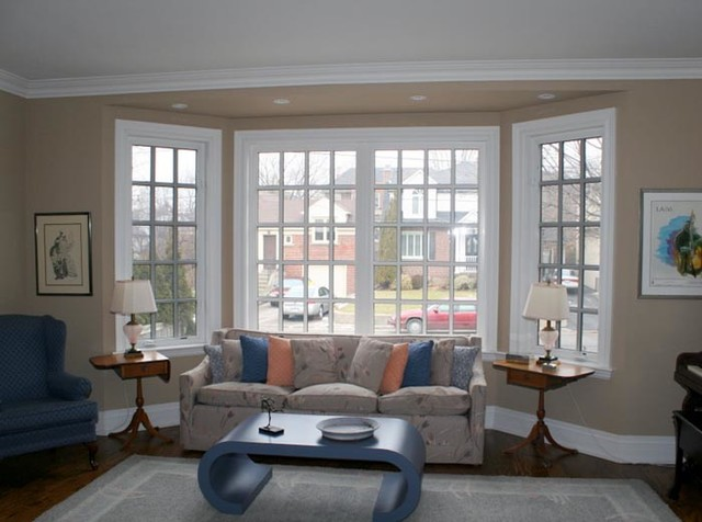 living room with bay windows
