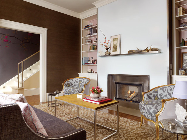 Living Room With Beautiful Fireplace Contemporary