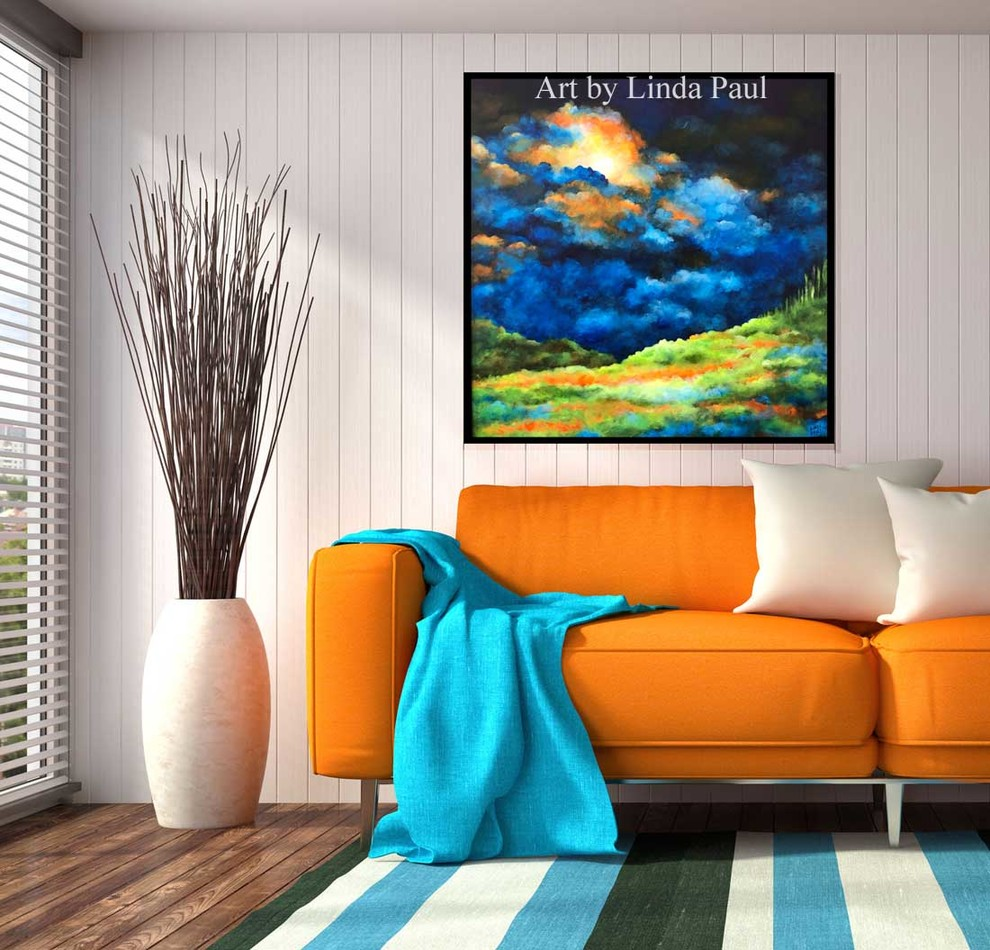 Living Room With Blue Orange And Green Wall Art For Sale Contemporary Living Room Denver By Linda Paul Studio