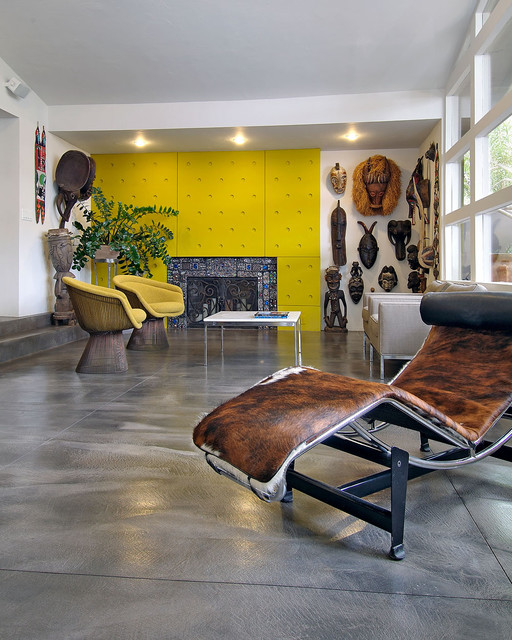 Living room with bright yellow fireplace eclectic-living-room