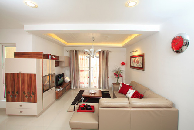 Living room with entertainment unit for Villa interior design bangalore