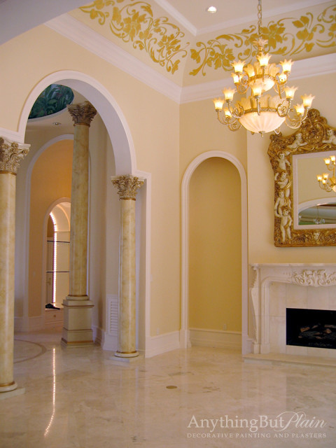 Living room with faux marble columns and handpainted cove for Pictures of columns in living room