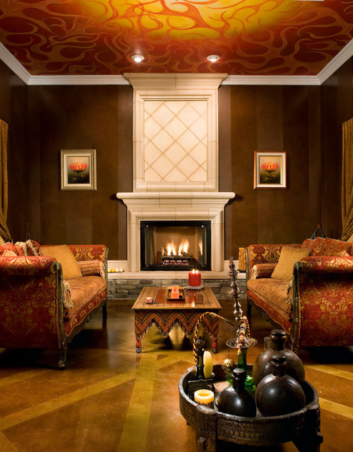 Living room with fireplace and ceiling mural eclectic-living-room