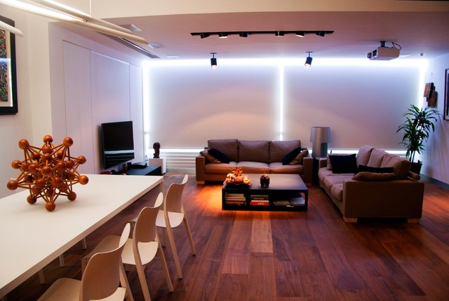 Living Room With Indirect Recessed LED Light. Modern Living Room