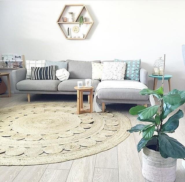 Living Room With Poppy Jute Rug Scandinavian
