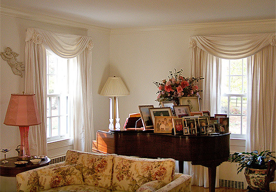 Living Room with Silk Draperies and Swags