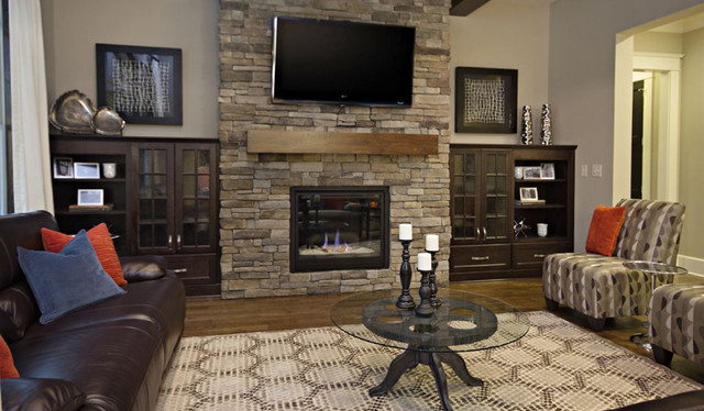 Living Room Stacked Stone Fireplace Traditional