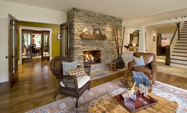 Living room with stone fire place maplewood nj for Living room maplewood