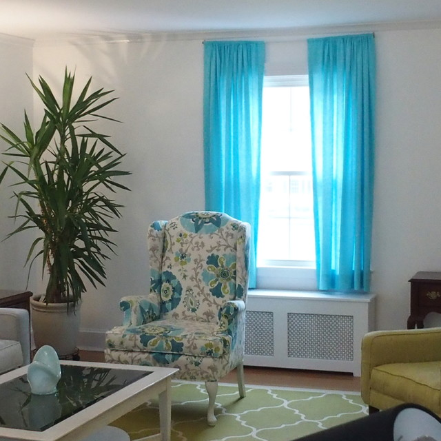 living room with turquoise linen draperies, pearl gray sofa, Living room
