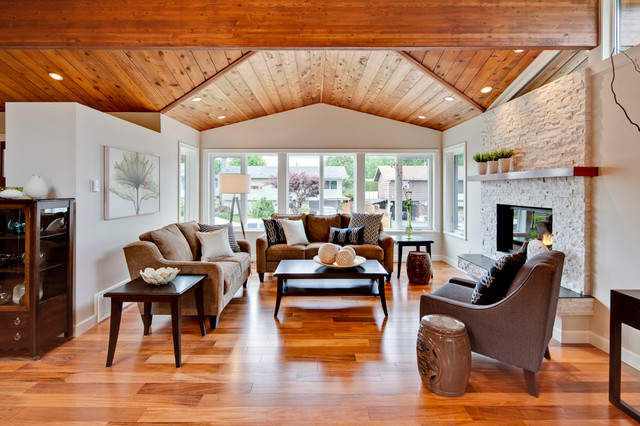 Living Room With Vaulted Wood Ceiling Transitional