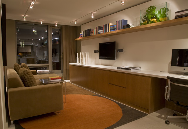 Living Room With Work Space Contemporary