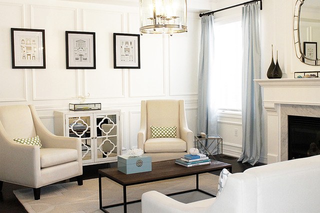 Inspiration for a mid-sized contemporary living room remodel in Toronto with white walls and