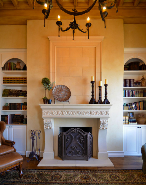 Living rooms and dining areas mediterranean living for Mediterranean fireplace designs