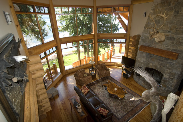 Living Rooms In Log Homes Traditional Living Room Calgary By Traditional Log Homes Ltd