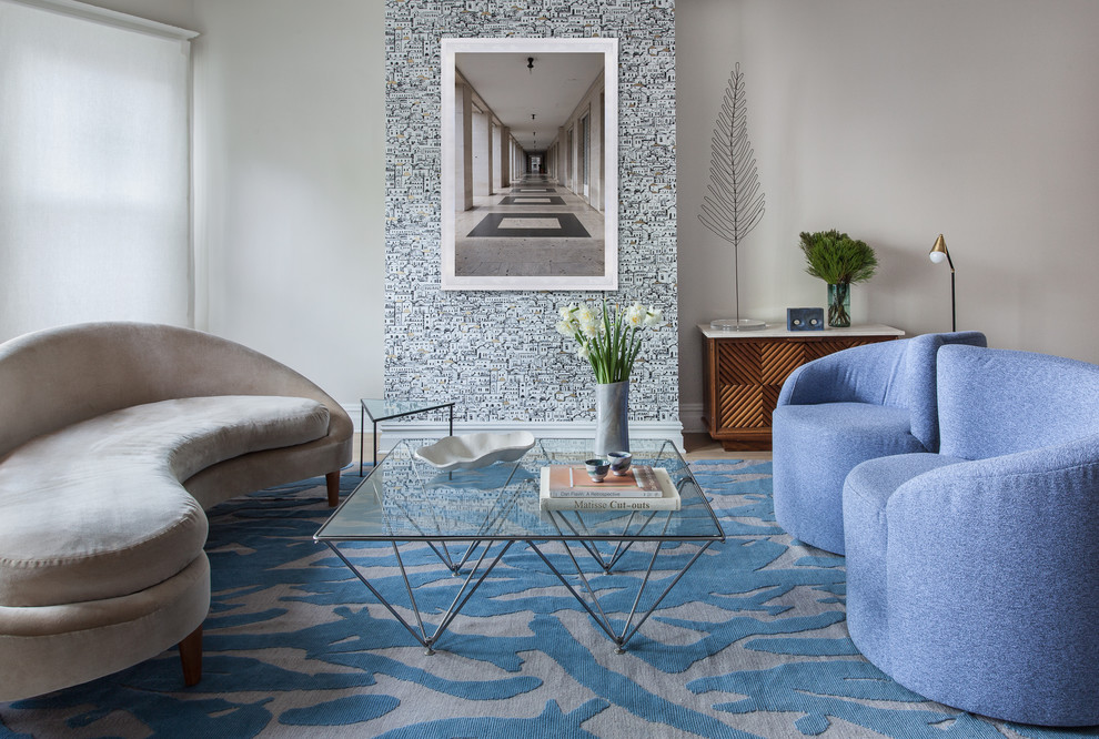 Inspiration for a small contemporary formal and open concept carpeted living room remodel in New York with no fireplace, no tv and white walls