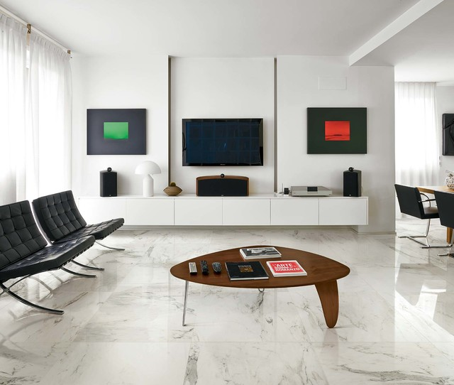 Mid Sized Modern Open Concept And Formal Marble Floor Living Room Idea In  Melbourne With Part 81