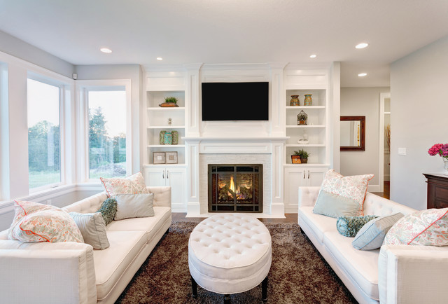Elegant Living Room Photo In New York With A Standard Fireplace And A  Wall Mounted