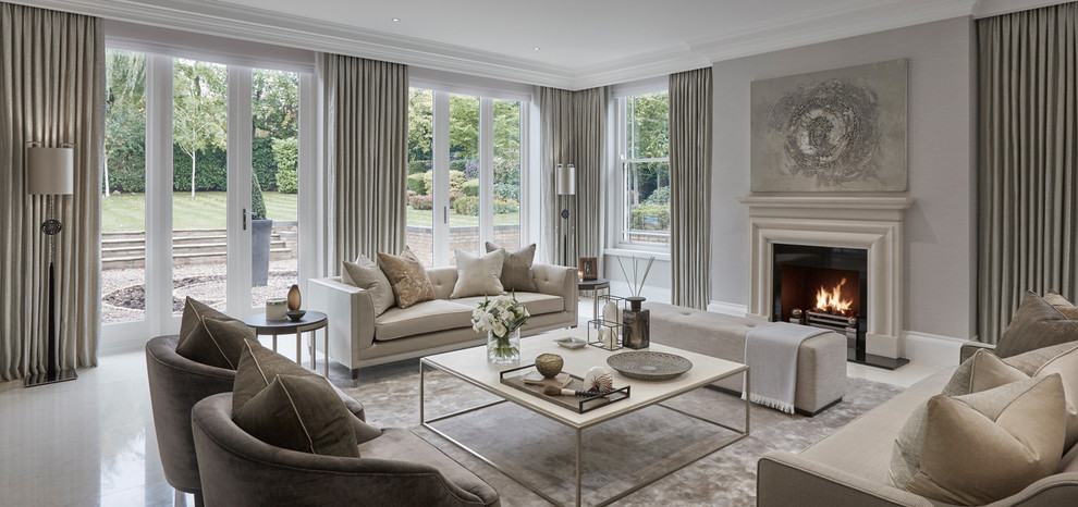 Large transitional formal and open concept porcelain tile and white floor living room photo in Chicago with gray walls, a standard fireplace and a stone fireplace
