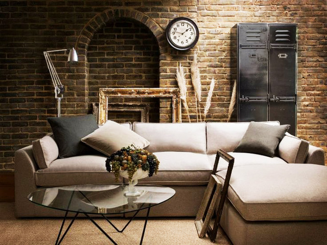 Living Spaces Industrial Living Room New York By