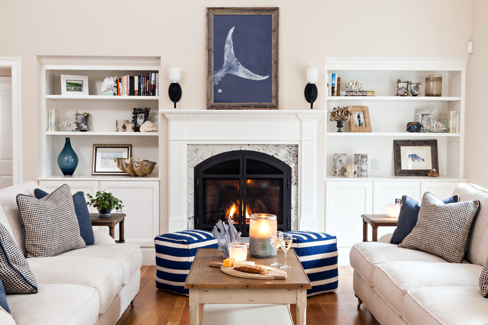 Large beach style formal and enclosed dark wood floor living room photo in Boston with a standard fireplace, a stone fireplace, white walls and no tv