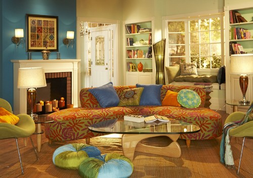 Instead Of A Full Blown Couch Or Some Huge 3 Piece Set Try The Coffee Table With A Simple Chaise Go For Bright Colors With Mixed Patterns Like Red