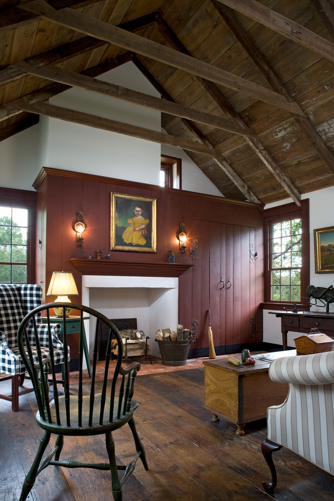 Living room - cottage dark wood floor living room idea in Philadelphia with white walls, a standard fireplace and no tv