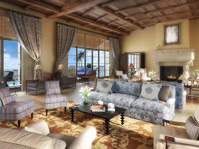 Example Of A Huge Tuscan Living Room Design In Los Angeles With Standard Fireplace