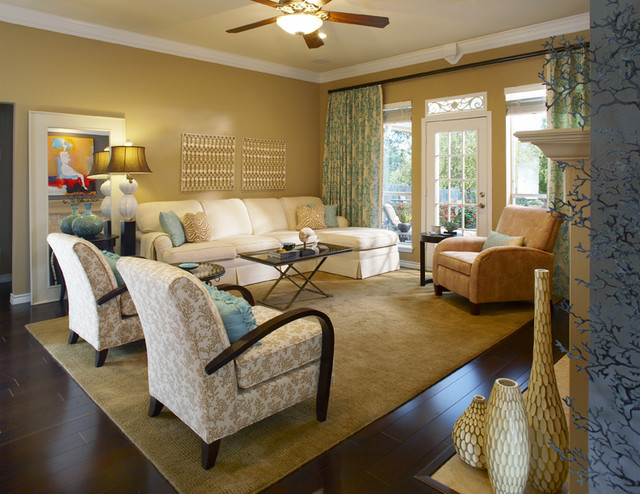 Local room makeovers mediterranean living room for Den living room designs