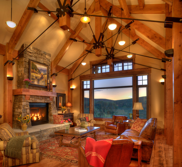 Lodge at trout creek great room rustic living room for Great living room designs