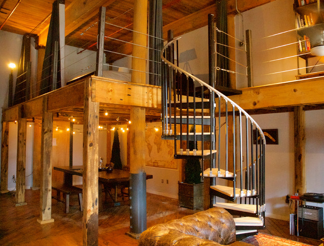 Superior Loft Addition With Spiral Staircase Industrial Living Room
