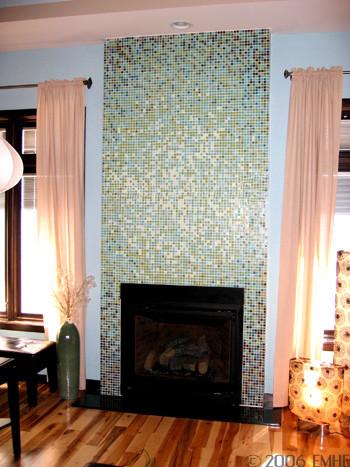 Loft Elliptical Glass Mosaic Tile Gradient Fireplace Design
