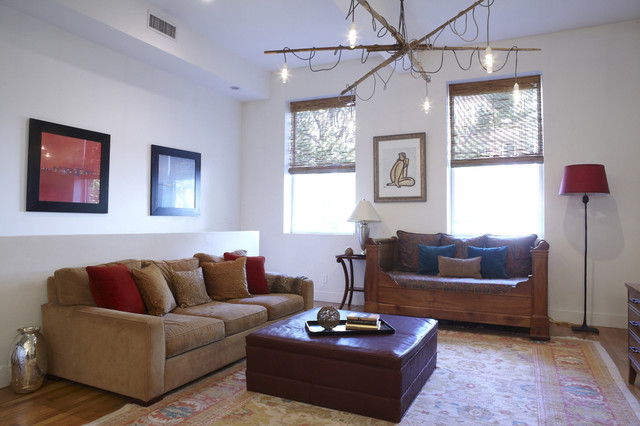 Loft living room with recycled chandelier antique french for Recycled living room ideas