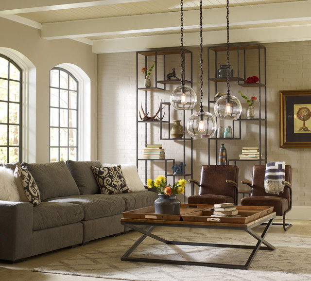 Loft livingroom design industrial living room los for Industrial chic living room