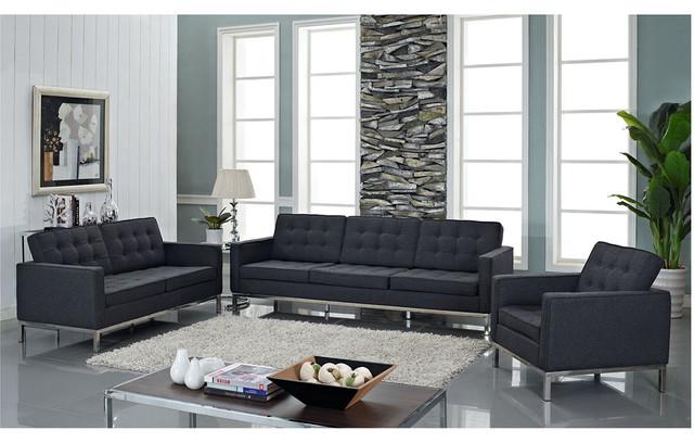 Loft wool dark gray midcentury living room for Reasonably priced living room furniture