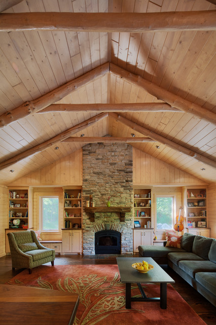Log Cabin Addition Rustic Living Room Detroit By