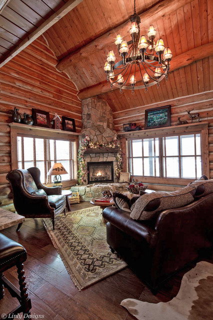Log cabin living room traditional living room for Log living room