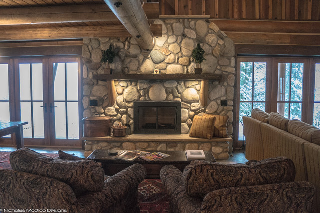Log Cabin Remodel Addition Traditional Living Room