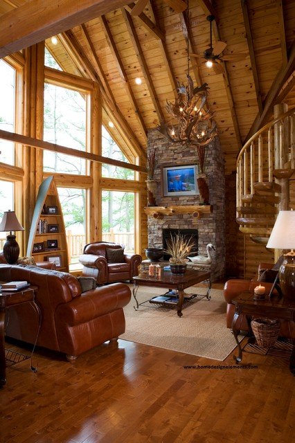 log home caldwell traditional living room other