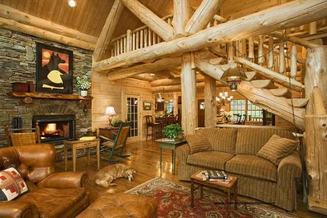 Log home living rooms for Log living room