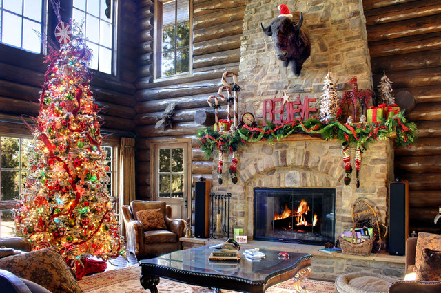 Log Home For The Holidays Rustic Living Room Los