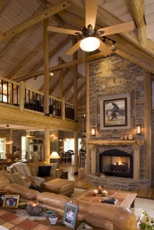 log home traditional living room other metro by