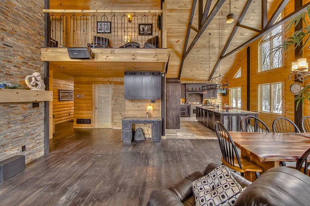 Log Home Interiors Rustic Living Room Charlotte By