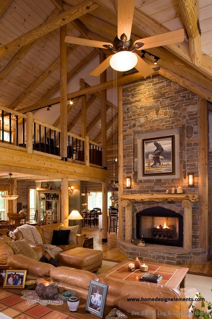 Superieur Log Home   Lavely Traditional Living Room