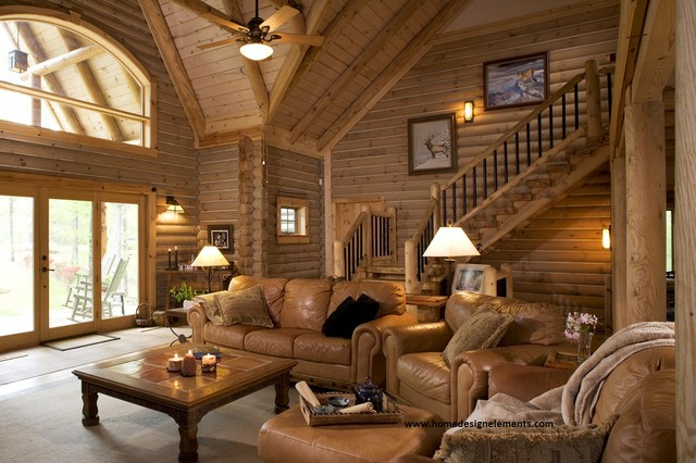 Log home lavely traditional living room other for Log living room