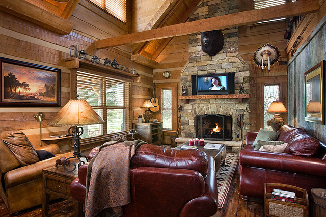 Log home with barn wood and western decor traditional for Log living room