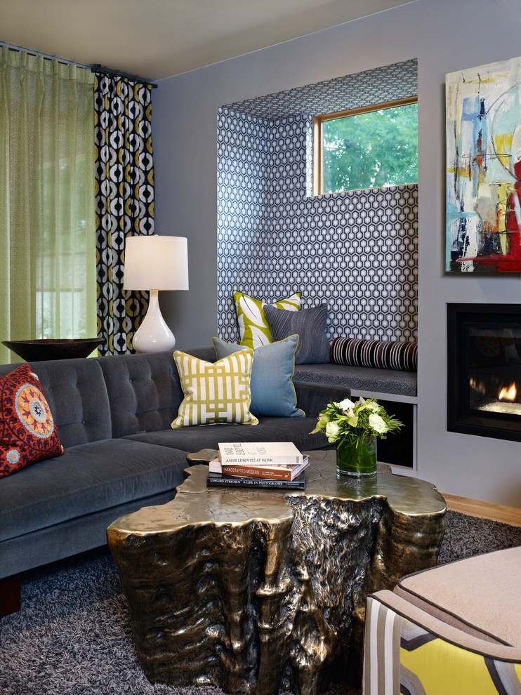 Eclectic living room photo in Denver with gray walls