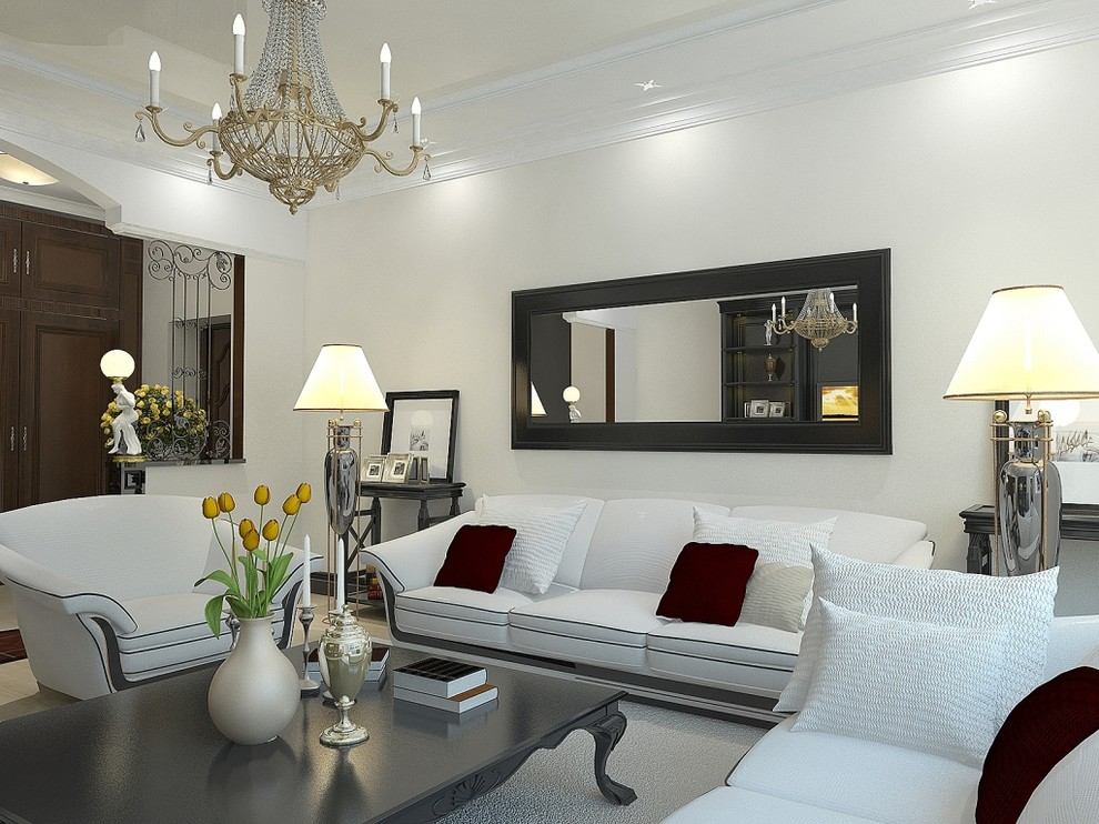 Example of a trendy living room design in Sacramento with white walls