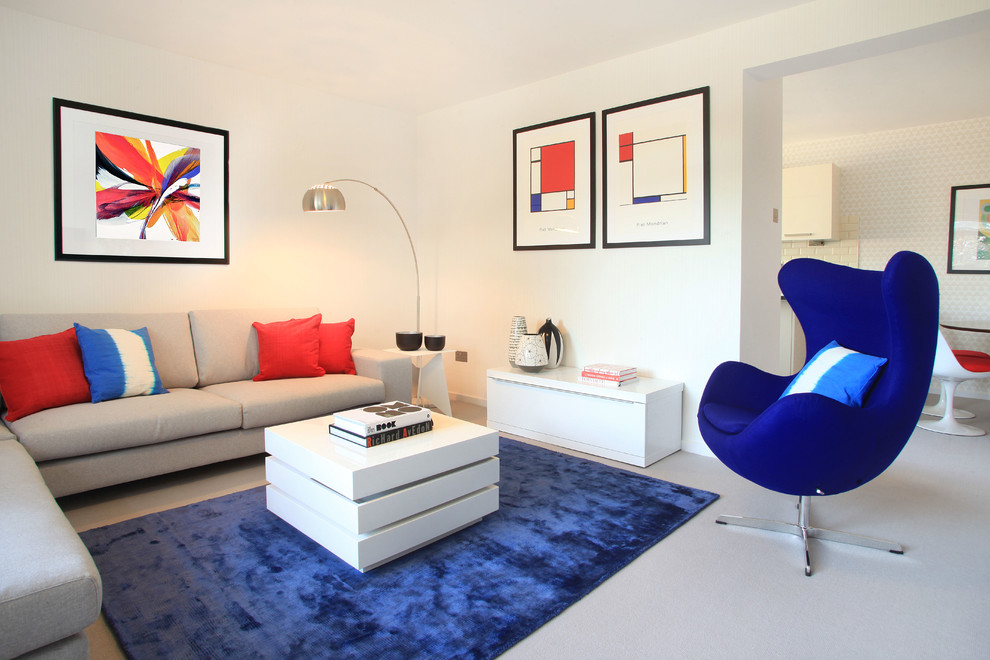 Mid-sized minimalist formal living room photo in London with white walls