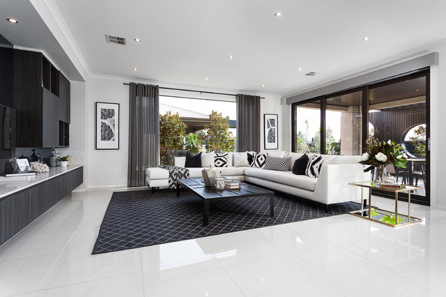 Lookbook black label contemporary living room melbourne by metricon for Metricon homes interior design